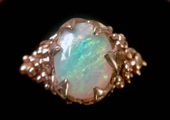 Solid Rose Gold Ring Rainbow Oval Australian Opal One of a Kind Solitaire with Amazing Flash 10K Yellow Red Rose Pink Gold Sizes 6 7 8 9