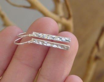Silver Bar Earrings, Sterling Silver, Dangle Stick Earrings, Hammered Bar Earrings, Simple Earrings, Gifts Under 20, Minimalist Modern Urban