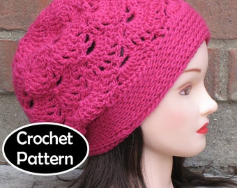 CROCHET HAT PATTERN Pdf Instant Download - Kayla Slouchy Beanie Beret Womens Teens - Permission to Sell English Only