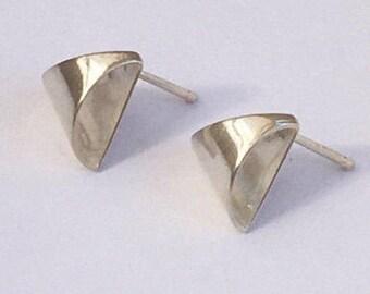 Triangle Stud Earrings, Triangle Post Earrings, Silver triangle earrings, Triangle silver earrings, Silver earrings, Sterling earrings,