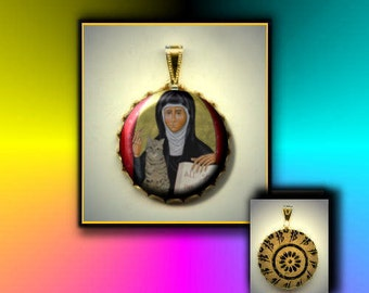 St. JULIAN of Norwich Patron Saint of Cats hand pressed flat metal button CABOCHON in Brass Charm / Pendant