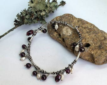 Sterling Silver Bangle with Garnets and Pearls