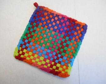Woven Cotton Potholder, Quality Loops, Traditional Potholder,  Hot Pad, Mug Rug, Multi-Color Potholder, Bridal Shower Gift, Gifts for Her