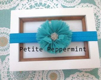 Turquoise Baby Headband, Baby Flower Headband, Baby Hair Bow, Infant Headband, Toddler Headband, Little Girl Headband, Baby Photo Prop