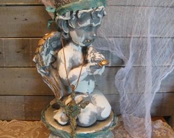 Sitting Angel - Ceramic Angel - Santos Angel Figurine - Angel Figurine - Pedestal - French Farmhouse - Santos Style Decor - Cherub -