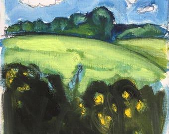 Schwarz gemustert, Juni 2017, ORIGINAL Graphit und Ölfarben auf Schwerpapier Landschaftsmalerei von Shirley Kanyon, 23x21.5 cm, 91x8.3 Zoll
