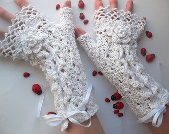 Crocheted Cotton Gloves XL Ready To Ship Victorian Fingerless Summer Women Wedding Lace Evening Knitted Bridal Party Ivory Corset Opera B56