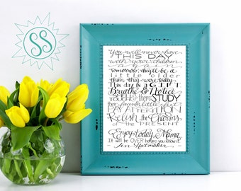 Jen Hatmaker Quote / Relish the Charms of the Present / This Day is a GIFT / Mother's Day Gift / 11x14 / THW070
