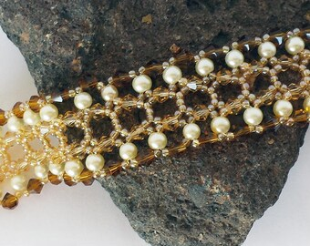Amber and Ivory Guinevere Bracelet - Hand Beadwoven