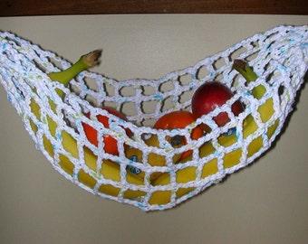 Banana Hammock, Fruit Hanger, Holder, Net, White with Turquoise, Green, Yellow Flecks