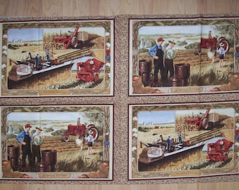 A Wonderful International Harvester Farmall Farming Tractors Placemat Fabric Panel Free US Shipping