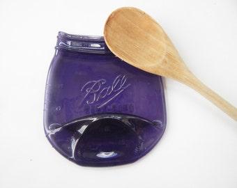 Melted Purple Mason Jar, Spoon Rest, Soap Dish, Candle Holder, Vintage Style