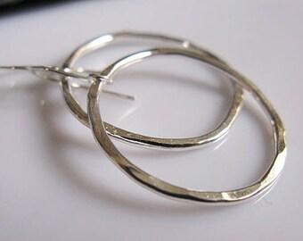 Silver Hoop Earrings Hoop Earrings Boho Earrings Hammered Silver Earrings Large Hoop Earring Tribal Earrings Hammered Silver 1 inch silver
