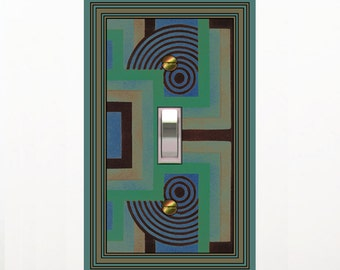 0495b - Mod - Blue/Green -  mrs butler switch plate covers - - also see 0495a