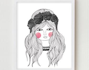 Giclee Print Poster Girls Bedroom Dorm Wall Art Decor Illustration Girls Room Art Print Black Pink Artwork Poster