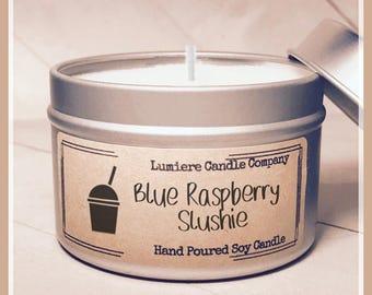 BLUE RASPBERRY SLUSHIEscented Soy Candle Tin, Scented Soy Candles, Hand Poured Soy Candles, Soy Candles Handmade, Travel Tin