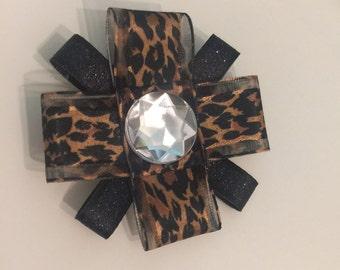 Leopard & Black Glitter Ribbon Flower Bow