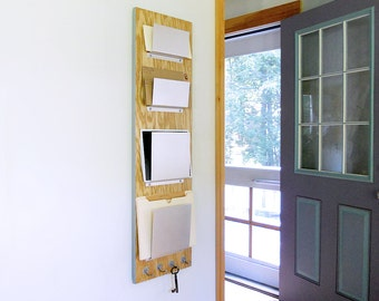 OFFICE FILE ORGANIZER: Mail and File Storage Combination Slots with Hooks for Keys, Wooden Wall Mount Unit for Home or Office.
