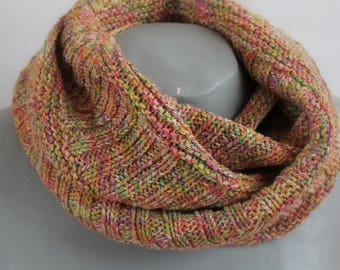 Chunky cowl neck scarf multicolor double strand