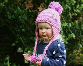 Knitting Pattern, Earflap Hat Pattern, Pom Pom Hat, Baby Hat Pattern, Hat Knitting Pattern, Easy Knit Pattern, Baby to Adult sizes - KELSEY