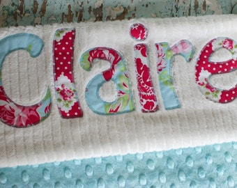 Monogrammed Baby Blanket in BREEZE, Aqua blue Minky and White Chenille, Personalized with Your Baby Girl's First Name in Red and Aqua Fabric