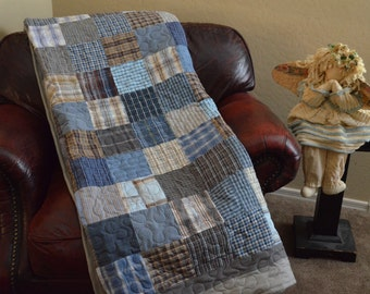 Quilt  Blues Grays Browns UpCycle RePurpose ReUse Men's Plaid Dress Shirt Quilt Full Made to Order