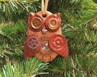Steampunk Owl Holiday Ornament - Industrial Style Bird Animal Mixed Media Decor style 19