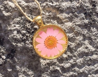 Pink And Gold Daisy Pendant