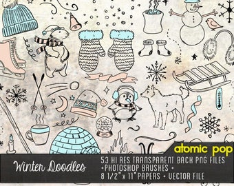 Winter Drawing Doodles // Instant Download // Digital File Photoshop Brushes // Vector SVG EPS AI // Graphic Design