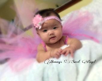 Shabby chic flower headband, bow headband, baby photo prop