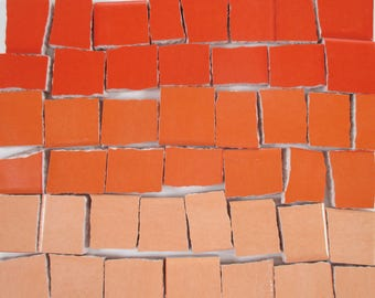 Ceramic Mosaic Tiles - Ombre Shades Of Orange Mosaic Tile Pieces Shades Of Orange Tiles - 40 Pieces - For Mosaic Art / Mixed Media Art