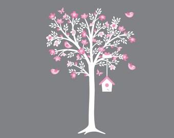 White Cherry Tree Wall Decal Flower Tree Decal Pink White Grey Nursery Decor