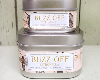 Buzz Off Citronella Soy Candle 4 oz. - Green Daffodil Soy Candleworks - Handpoured - Siouxsan and Anne -C4