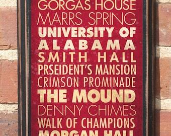 Alabama AL Crimson Tide Points of Interest Wall Art Sign Plaque Gift Present Decor Vintage Style roll tide Bama Tuscaloosa Man Cave Antiqued