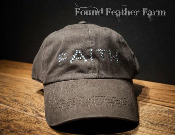 Jeweled Brown Rhinestone 'Faith' Cap