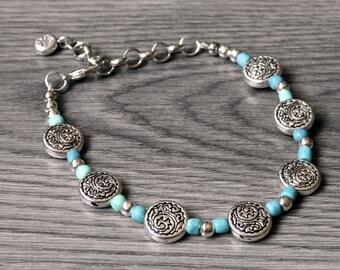 Country Western Bracelet - Silver Medallion Bracelet - Cowgirl Bracelet - Silver Western Bracelet - Country Girl Bracelet - Concho Bracelet