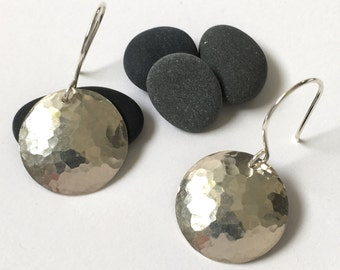 Large hammered silver disc earrings - round silver convex disk earrings