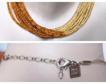 Vintage Marc Labat Beaded Choker-Necklace, Color Amber