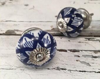 Round Cobalt Blue Tomato Knobs Decorative Pull Knob, Craft Supply, Furniture Upgrade Ceramic Drawer Pulls, Home Improvement Cabinet Supplies