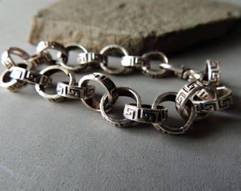 Heavy Sterling Silver Bracelet, Artisan Jewelry, Handmade Silver Chain, Jewelry For Him, Unisex Jewelry, Greek Key Design, Rustic