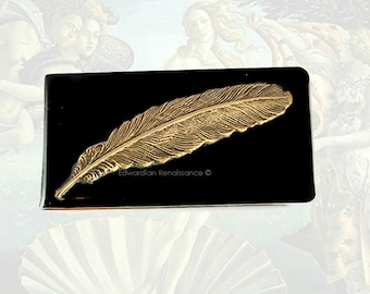 Antique Gold Feather Money Clip Inlaid in Hand Painted Glossy Black Onyx Enamel Custom Colors and Personalized Options