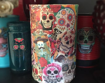 Day of the Dead Día de los Muerto COLLAGE Can Vase Centerpiece Wedding Party Decoration Home Decor Sugar Skull Halloween Gothic Goth Mexican