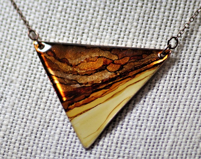 Featured listing image: Shades of Brown Triangle Hand Painted Necklace