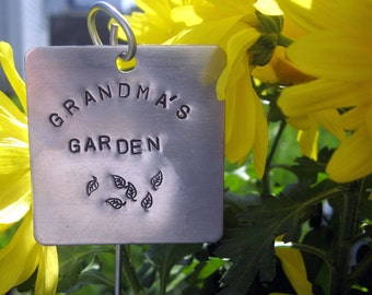 "Extra Large hand stamped garden / herb marker .. 2"" square"