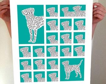 Dog Print, Dog Poster, Dog, Dog Art, Dog Artwork, Ruff, Ruff Poster, Puppy, Puppy Art, Puppy Poster, Dog Wall Art, Dog Sign, Ruff Sign