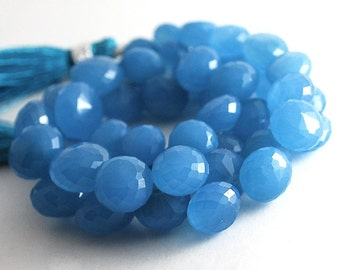 1/2 Strand -Very Finest Blue Chalcecony Faceted Onion Briolettes
