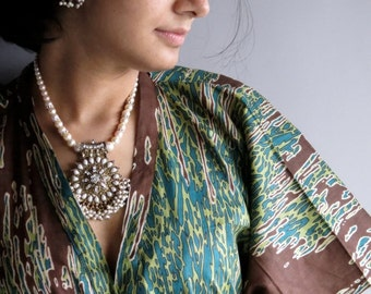 Splatter Green front button caftan perfect as bridesmaids robes, getting ready, beach coverup, dressing gown, loungwear, gift for her