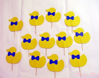 Duck Cupcale Toppers, Ducks with Bow Ties Cupcake Toppers, 12 Duck Baby Shower Cupcake toppers, 12 Rubber Duckie Cupcake Toppers, set of 12