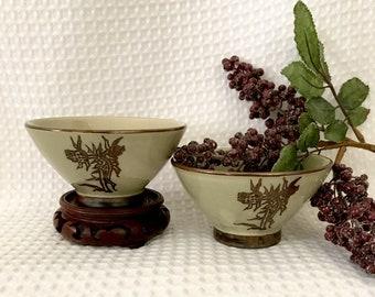 Oriental bowls porcelain rice noodle soup bowls  glazed with painted florals