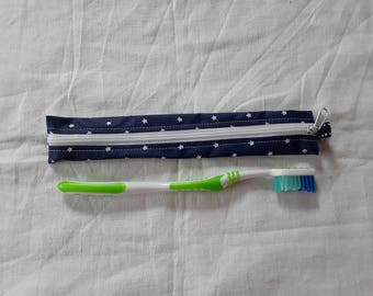 Pouch / Holster toothbrush blue oilcloth with white stars (1)
